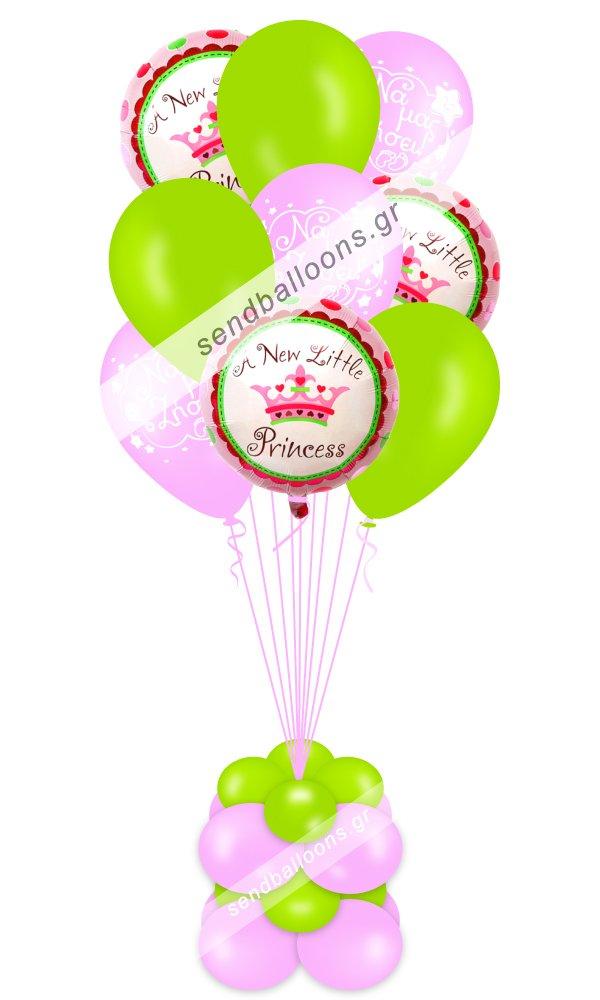 9 μπαλόνια γέννησης ροζ, λαχανί, 3 foil