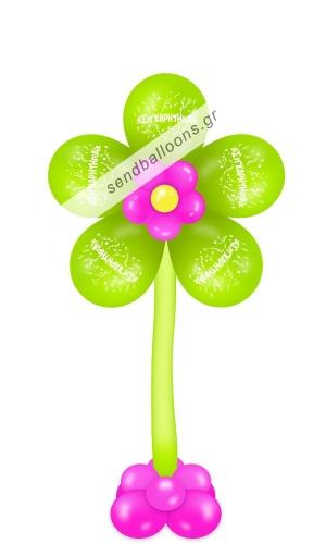 Λουλούδι με μπαλόνια συγχαρητήρια λαχανί - φούξια