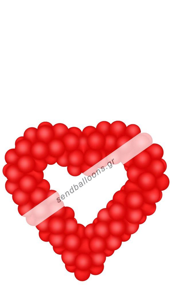 Κόκκινη καρδιά από μπαλόνια σε σιδεροκατασκευή