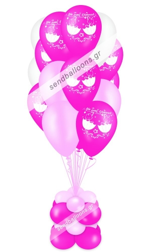 15 μπαλόνια για δύο κορίτσια φούξια, ροζ, λευκό