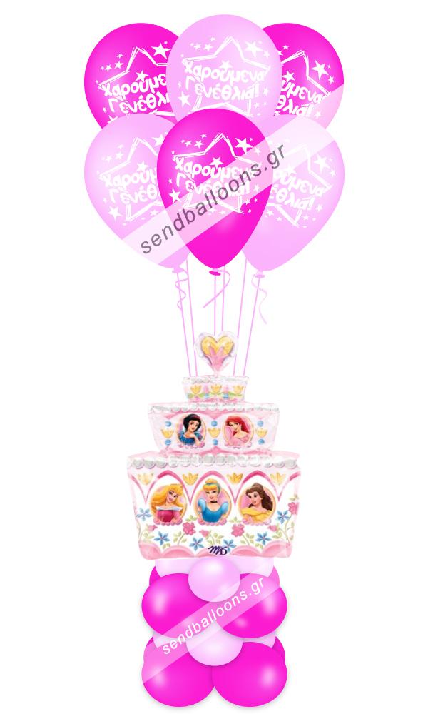 Φιγούρα μπαλόνι πριγκίπισσες σε σχήμα τούρτας