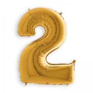 Μπαλόνι αριθμός 2 χρυσό 70 εκατοστά