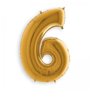 Μπαλόνι αριθμός 6 χρυσό 102 εκατοστά