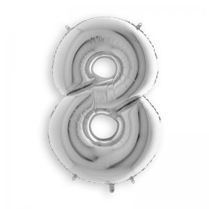 Μπαλόνι αριθμός 8 ασημί 102 εκατοστά