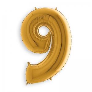Μπαλόνι αριθμός 9 χρυσό 102 εκατοστά