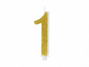 Κεράκι νούμερο 1 με χρυσό γκλίτερ