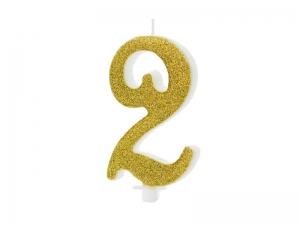 Κεράκι νούμερο 2 με χρυσό γκλίτερ