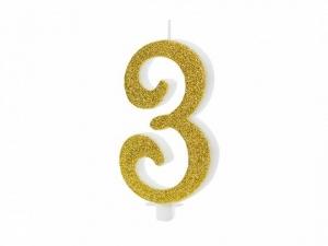 Κεράκι νούμερο 3 με χρυσό γκλίτερ