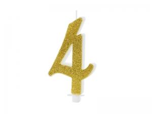 Κεράκι νούμερο 4 με χρυσό γκλίτερ