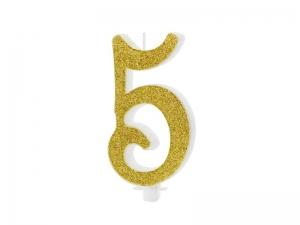 Κεράκι νούμερο 5 με χρυσό γκλίτερ