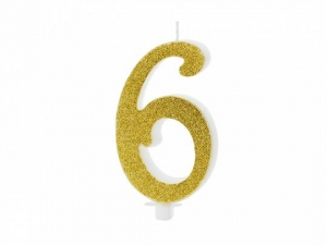 Κεράκι νούμερο 6 με χρυσό γκλίτερ
