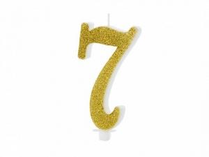 Κεράκι νούμερο 7 με χρυσό γκλίτερ