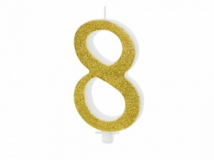 Κεράκι νούμερο 8 με χρυσό γκλίτερ