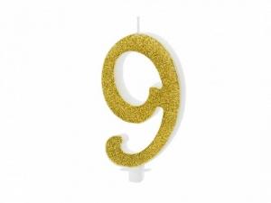 Κεράκι νούμερο 9 με χρυσό γκλίτερ