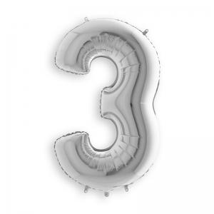 Μπαλόνι αριθμός 3 ασημί 36 εκατοστά