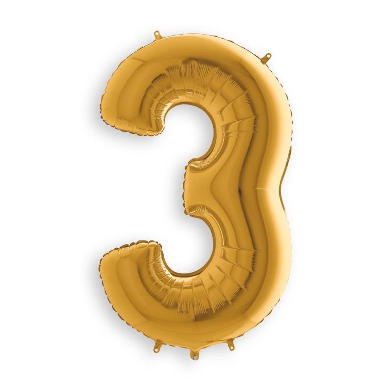 Μπαλόνι αριθμός 3 χρυσό 36 εκατοστά