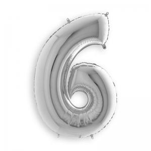 Μπαλόνι αριθμός 6 ασημί 36 εκατοστά