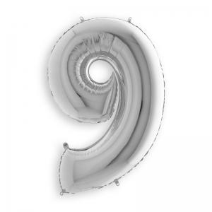 Μπαλόνι αριθμός 9 ασημί 36 εκατοστά